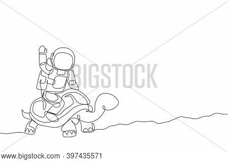 Single Continuous Line Drawing Of Cosmonaut With Spacesuit Riding Tortoise And Waving Hand In Moon S