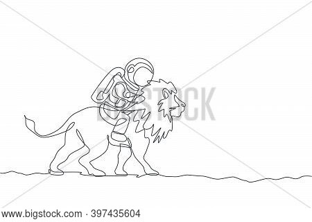 Single Continuous Line Drawing Of Cosmonaut With Spacesuit Riding Lion, Wild Animal In Moon Surface.