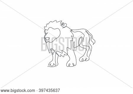 One Continuous Line Drawing Of Big Male Lion. Wild Animal National Park Conservation. Safari Zoo Con