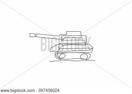 Single Continuous Line Drawing Of Metal War Tank With Cannon Gun, Side View. Transportation Vehicle