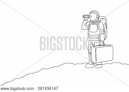 Single Continuous Line Drawing Of Young Astronaut Holding Suitcase And Looking With Binocular In Moo