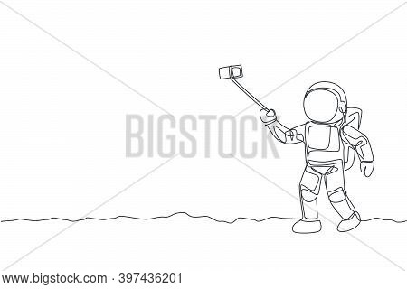 One Continuous Line Drawing Of Young Happy Astronaut Doing Selfie Shot In Moon Surface With Smartpho
