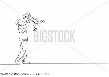 One Continuous Line Drawing Of Young Happy Father Raising His Daughter Up In The Air, Family Play To