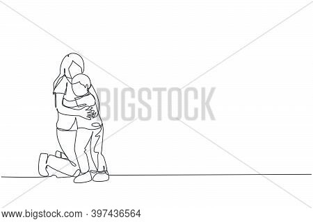 One Continuous Line Drawing Of Young Happy Mother Hugging Her Lovely Son Full Of Warmth At School. H