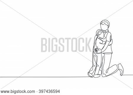 One Single Line Drawing Of Young Happy Daddy Hugging His Lovely Son Full Of Warmth At Home Vector Il