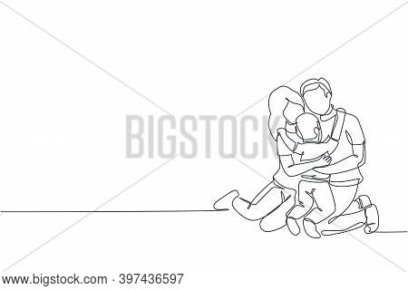 Single Continuous Line Drawing Of Young Happy Mother And Father Hugging Their Lovely Son Together Fu