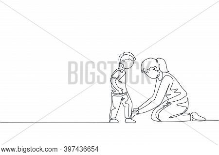 One Continuous Line Drawing Young Happy Mom At Home Tying Her Son Shoelaces Before Going To School I