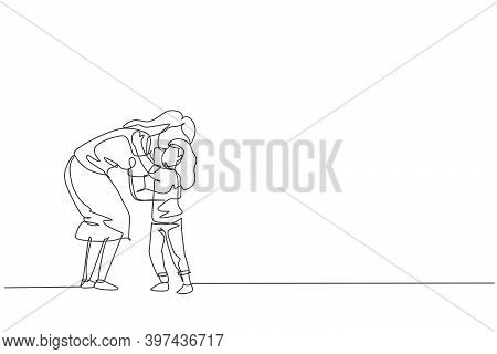 One Single Line Drawing Of Young Mom Hugging Her Daughter Full Of Warmth Before Go To School, Parent