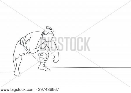 One Single Line Drawing Of Young Overweight Japanese Sumo Man Ready To Fight At Arena Competition Ve