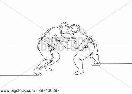 One Single Line Drawing Of Two Young Overweight Japanese Sumo Man Fighting At Arena Competition Vect