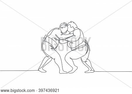 One Single Line Drawing Of Two Young Overweight Japanese Sumo Men Fighting At Arena Competition Vect