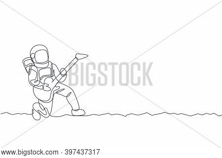 One Single Line Drawing Of Spaceman Playing Acoustic Guitar Musical Instrument In Deep Space Vector