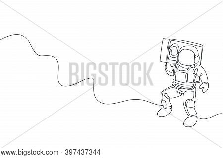 One Continuous Line Drawing Astronaut With Spacesuit Playing Radio On Shoulder In Galaxy Universe. O