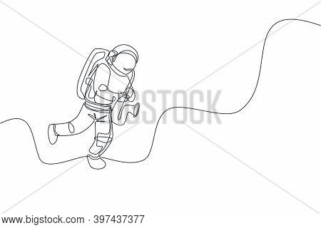 One Continuous Line Drawing Astronaut With Spacesuit Playing Saxophone In Galaxy Universe. Outer Spa