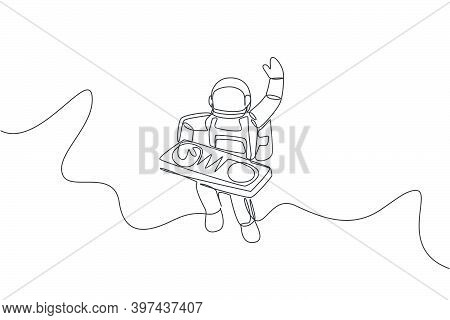 One Single Line Drawing Of Spaceman Playing Mixer Dj Musical Instrument In Deep Space Vector Illustr