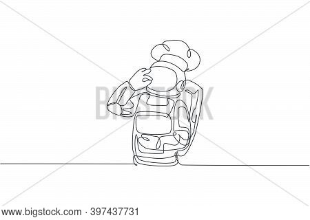One Continuous Line Drawing Of Young Astronaut Chef Giving Delicious Hand Gesture For Tasty Dish. He