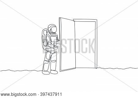 One Continuous Line Drawing Of Young Astronaut Opening Door Gate Into Another Dimension In Moon Surf