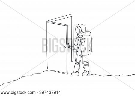 Single Continuous Line Drawing Of Astronaut Entering Open Door Gate Into New Dimension In Moon Surfa