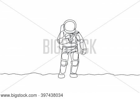 One Single Line Drawing Of Young Astronaut Holding Space Laser Gun, Prepare To War In Moon Surface V