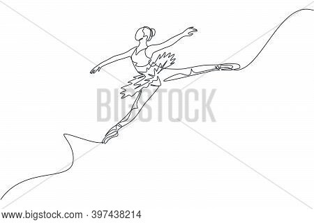 One Continuous Line Drawing Of Young Graceful Woman Ballet Dancer Perform Beauty Classic Dance At St