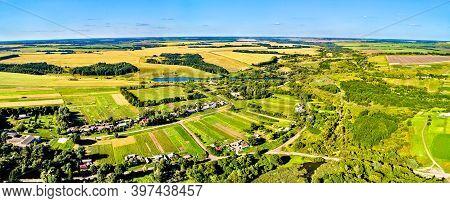 Aerial Landscape Of The Central Russian Upland. Pozdnyakovo Village, Kursk Region.