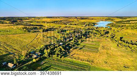 Aerial Landscape Of The Central Russian Upland. Darnitsa Village, Kursk Region.