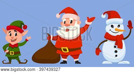 Christmas Characters Waving Hands. Santa Claus, Elf And Snowman In Cartoon Style.