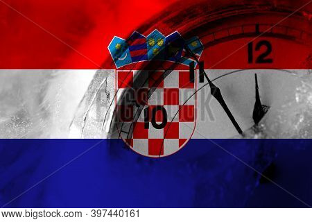 Croatia, Croatian Flag With Clock Close To Midnight In The Background. Happy New Year Concept