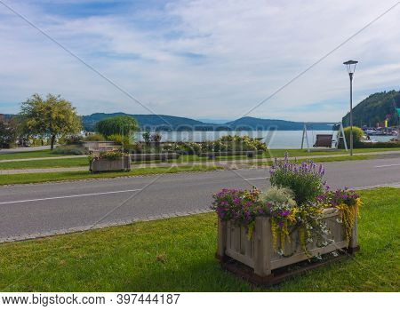 Flowers On The Alpine Lake Worthersee Park, Famous Tourists Attraction In Carinthia Region, Austria