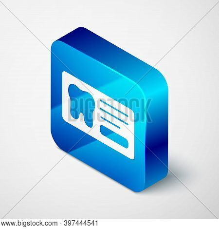 Isometric Clipboard With Dental Card Or Patient Medical Records Icon Isolated On Grey Background. De