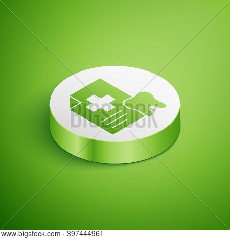 Isometric Clipboard With Dental Card Or Patient Medical Records Icon Isolated On Green Background. D