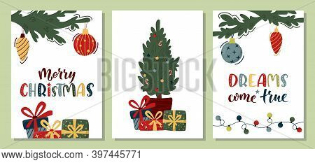 Set Of Vertical Merry Christmas Cards With Decorated Fir Tree Branches, Christmas Tree, Gift Boxes A
