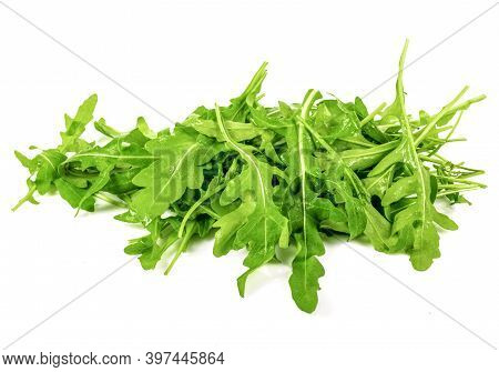 Heap Of Green Fresh Rucola Or Arugula Leaf Isolated On White Background.