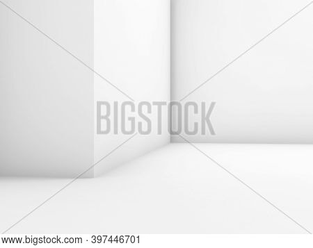Abstract Empty White Interior Fragment, Minimal Architecture Background, 3d Rendering Illustration