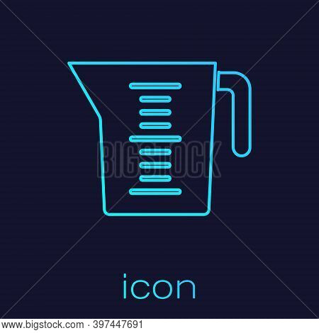 Turquoise Line Measuring Cup To Measure Dry And Liquid Food Icon Isolated On Blue Background. Plasti