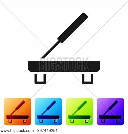 Black Scented Spa Stick On A Wooden Stand Icon Isolated On White Background. Incense Stick. Cosmetic