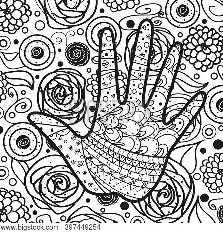 Square Intricate Background. Hand Drawn Line Pattern. Human Hand. Black And White Illustration