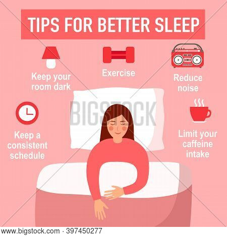 Tips For Better Sleep At Night Infographics. Sleeping Woman In Bedroom And Useful Advices For Better