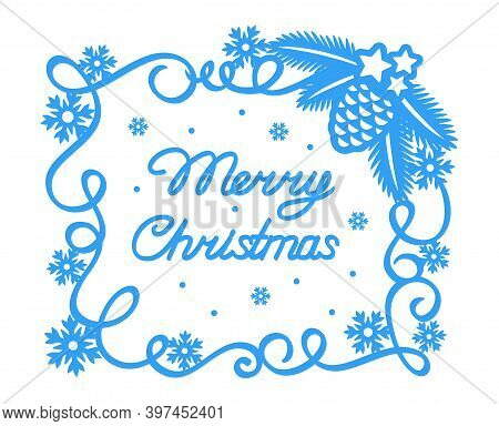 Christmas Card. Blue Square Frame And Text Merry Christmas On White Background. Simple Flat Style. C