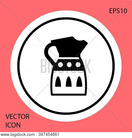 Black Sangria Pitcher Icon Isolated On Red Background. Traditional Spanish Drink. White Circle Butto