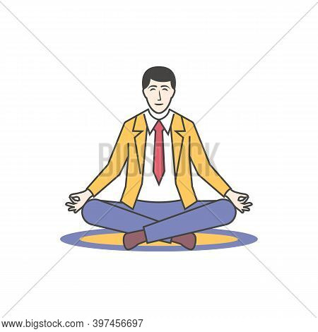 Meditation Concept. Businessman Sitting In Lotus Pose. An Office Worker Is Meditating On A Yoga Mat.