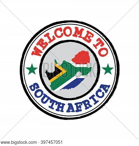 Vector Stamp Of Welcome To South Africa With Map Outline Of The Nation In Center. Grunge Rubber Text