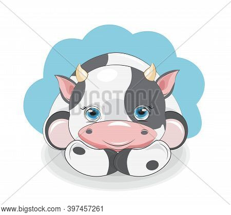 Cute Baby Big Eyes Calf, Picture In Hand Drawing Cartoon Style, For T-shirt Wear Fashion Print Desig