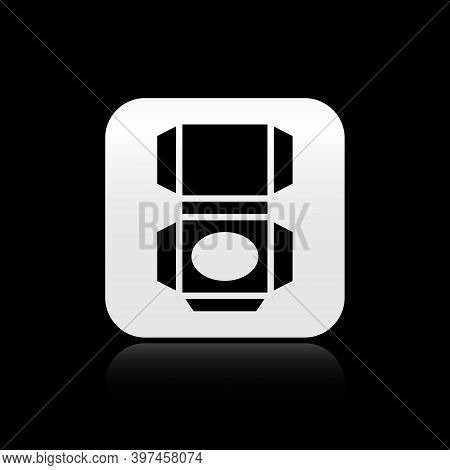 Black Carton Cardboard Box Icon Isolated On Black Background. Box, Package, Parcel Sign. Delivery An