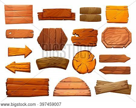 Set Of Wooden Pillars Signboards Isolated Guide Signs Of Wood. Blank Guideposts, Arrows Direction Po