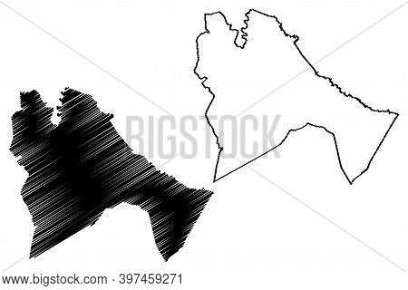 Sennar State (republic Of The Sudan, North Sudan) Map Vector Illustration, Scribble Sketch Sinnar Ma