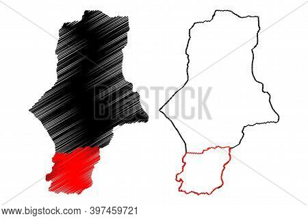South Darfur State (republic Of The Sudan, North Sudan) Map Vector Illustration, Scribble Sketch Sou