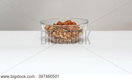 Muesli With Nuts In Glass Bowl Healthy Mix