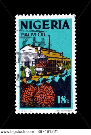 Nigeria - Circa 1973 : Cancelled Postage Stamp Printed By Nigeria, That Shows Palm Oil Industry, Cir