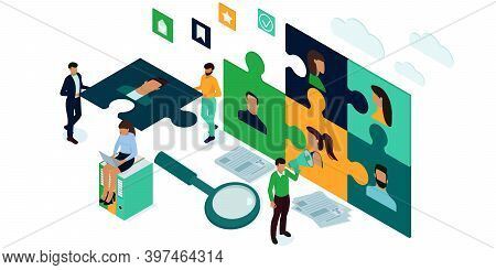 Isometric Vector Illustration For A Website. Search For Employees For Business Organizations.